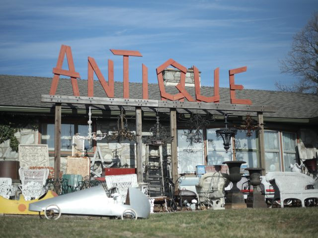 storefront of an antique shop