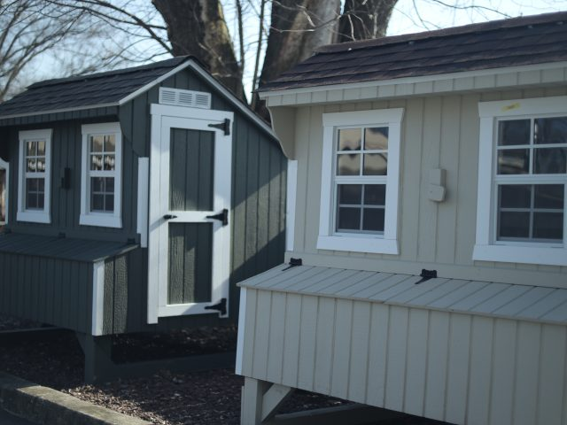large wooden chicken coops for sale on display in pa
