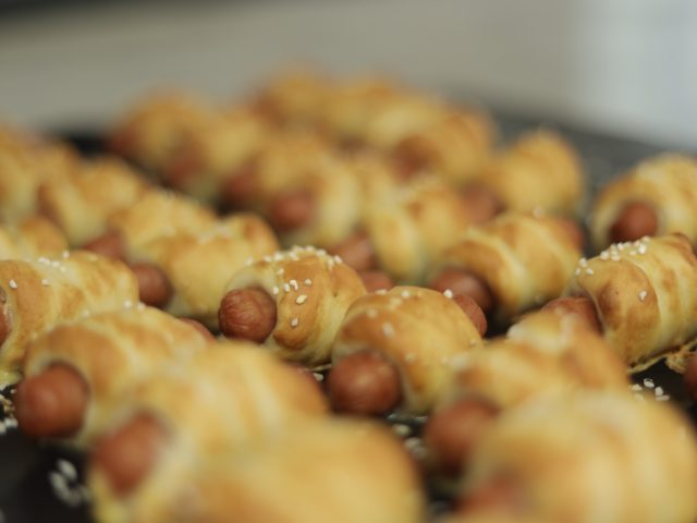 soft pretzels with mini hotdogs inside