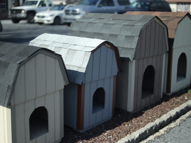 row of wooden dog houses on display at amish farmers market